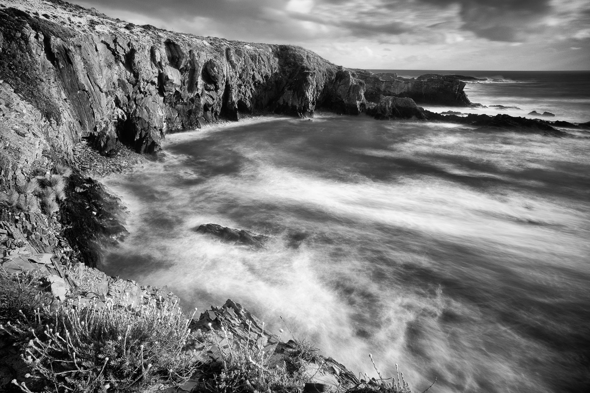 Cliffs in black and white
